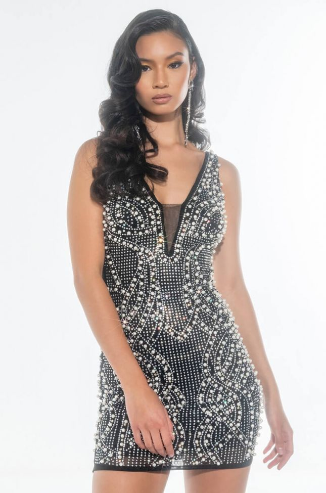 Front View Cant Touch This Rhinestone Mini Dress