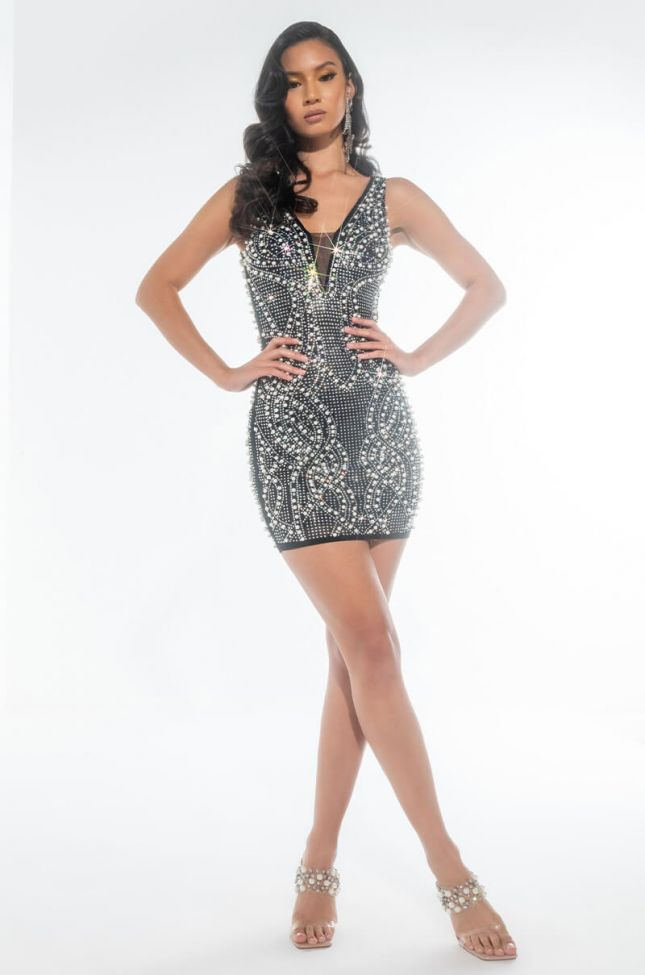 CAN'T TOUCH THIS RHINESTONE MINI DRESS