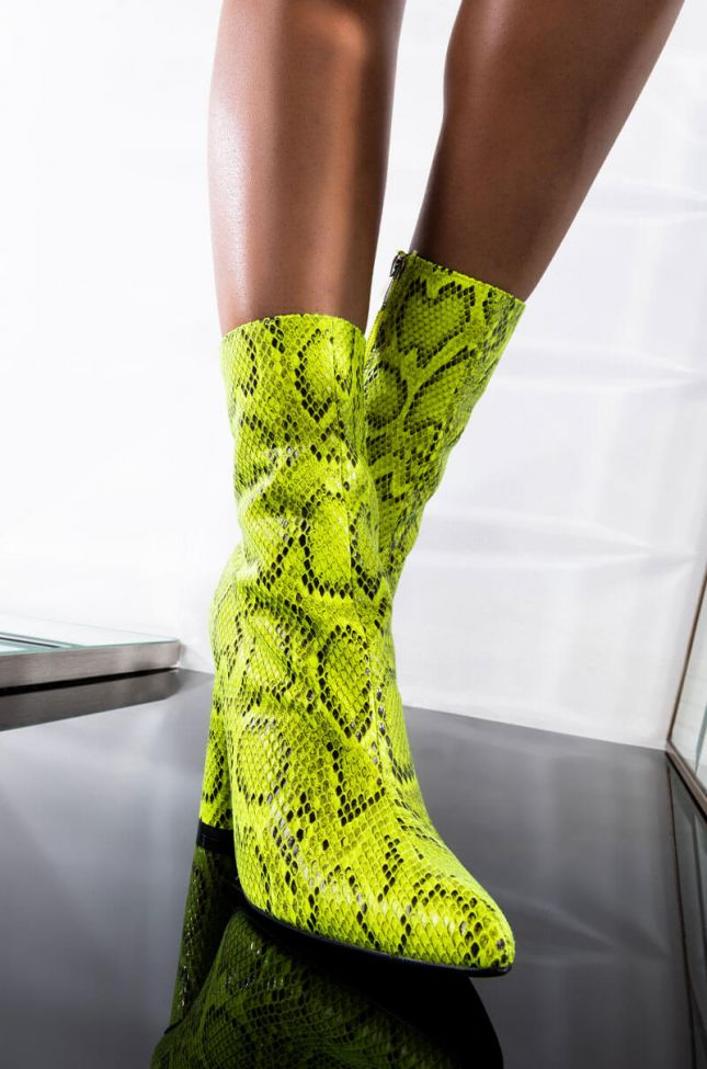 Front View Cape Robbin Doin It Chunky Snakeskin Bootie in Lime