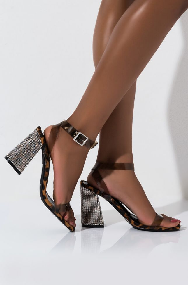Side View Cape Robbin Drive Me Insane Chunky Heel Diamond Sandal in Leopard