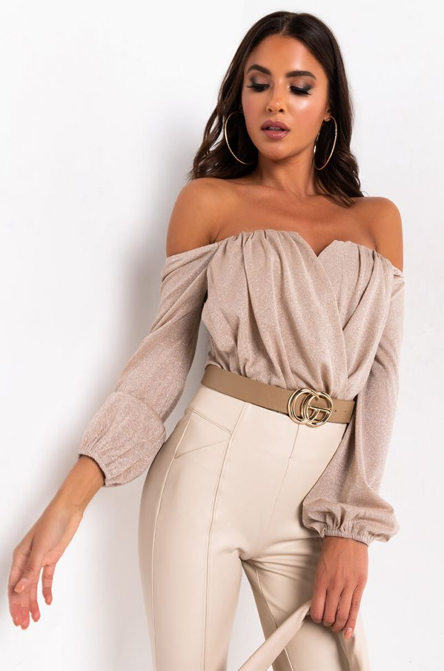 Front View Care For You Off The Shoulder Bodysuit in Gold