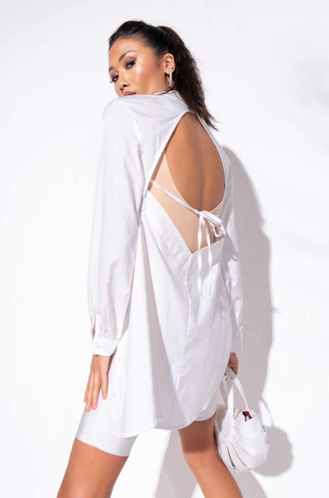 Back View Careless Mini Long Sleeve Button Up Dress in White