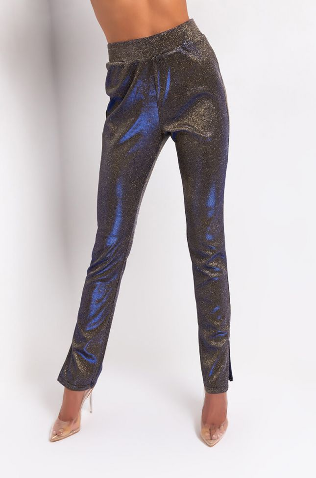 Front View Carolina Sparkly Legging Pant in Royal Blue