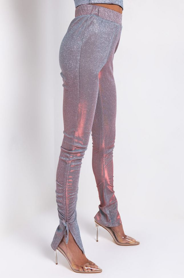 Side View Carolina Sparkly Ruched Pant in Light Purple