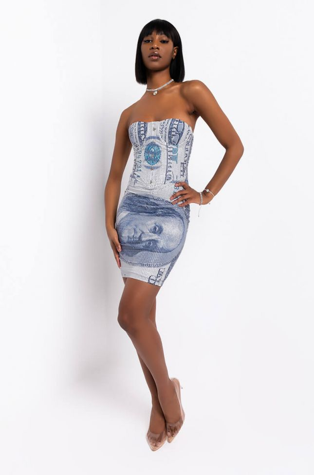 Cash Rules Rhinestone Mini Dress in White