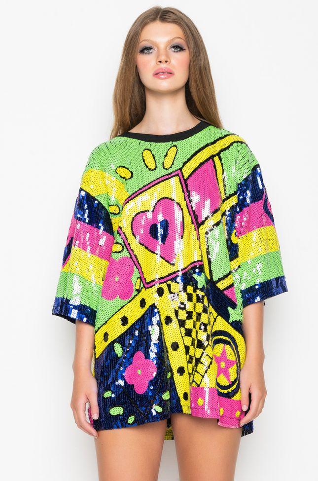 Back View Casino Night Sequin T Shirt Dress