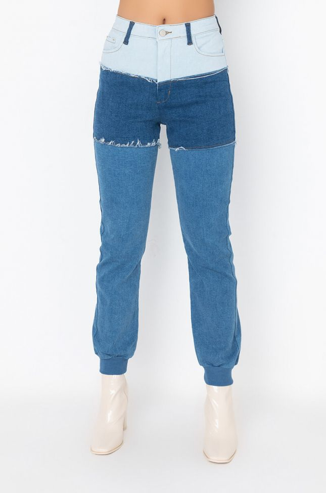Front View Casual Calling Denim Detail Jogger
