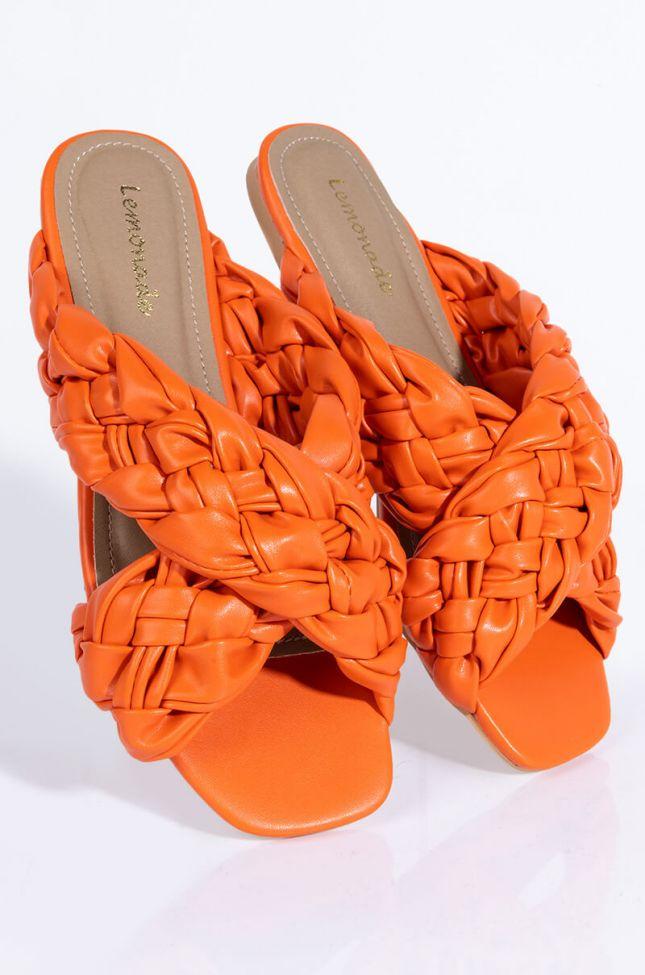 Front View Catch Flights Not Feelings Flat Sandal in Orange