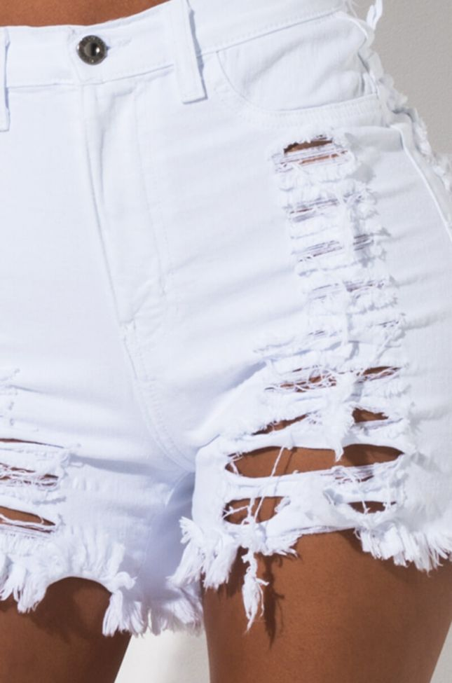 Detail View Catch Me Distressed Denim Shorts in White