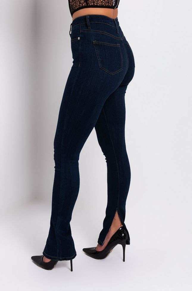 Side View Catch Me High Rise Skinny Jeans in Dark Blue Denim
