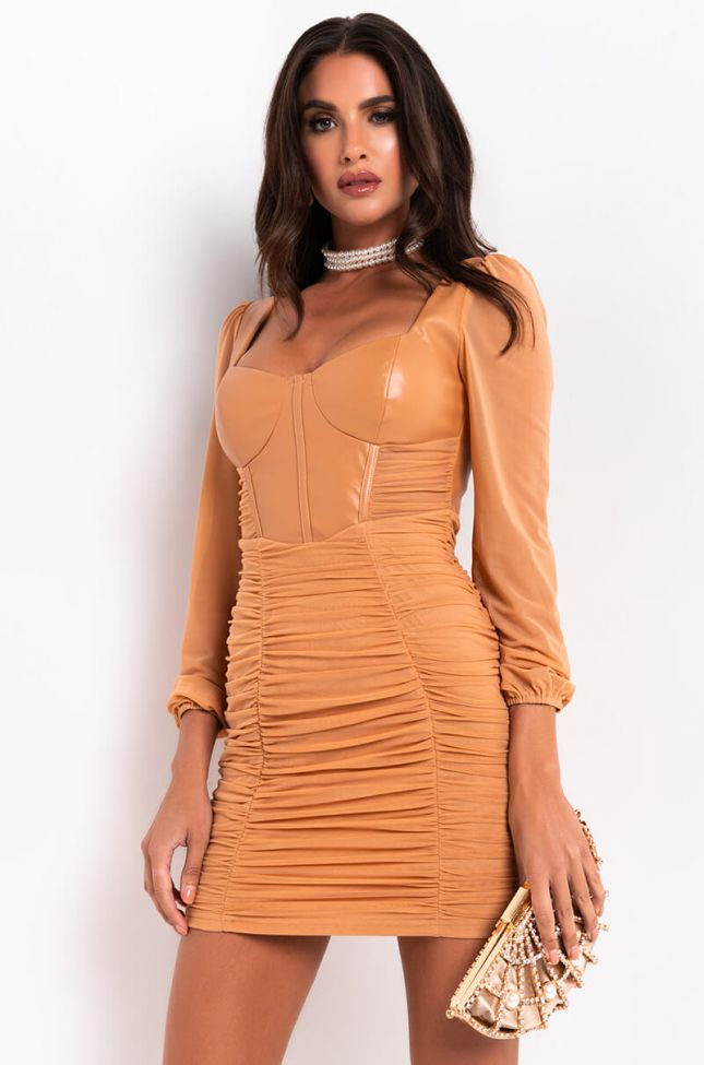 Front View Catch Me If You Can Pu Mini Dress in Light Brown