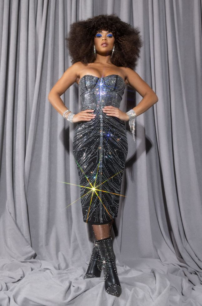 Side View Catch Up And Keep Up Midi Tube Dress With Rhinestones