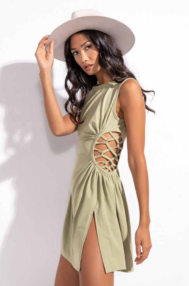 Detail View Caught Up In The Twist Mini Dress With Slit