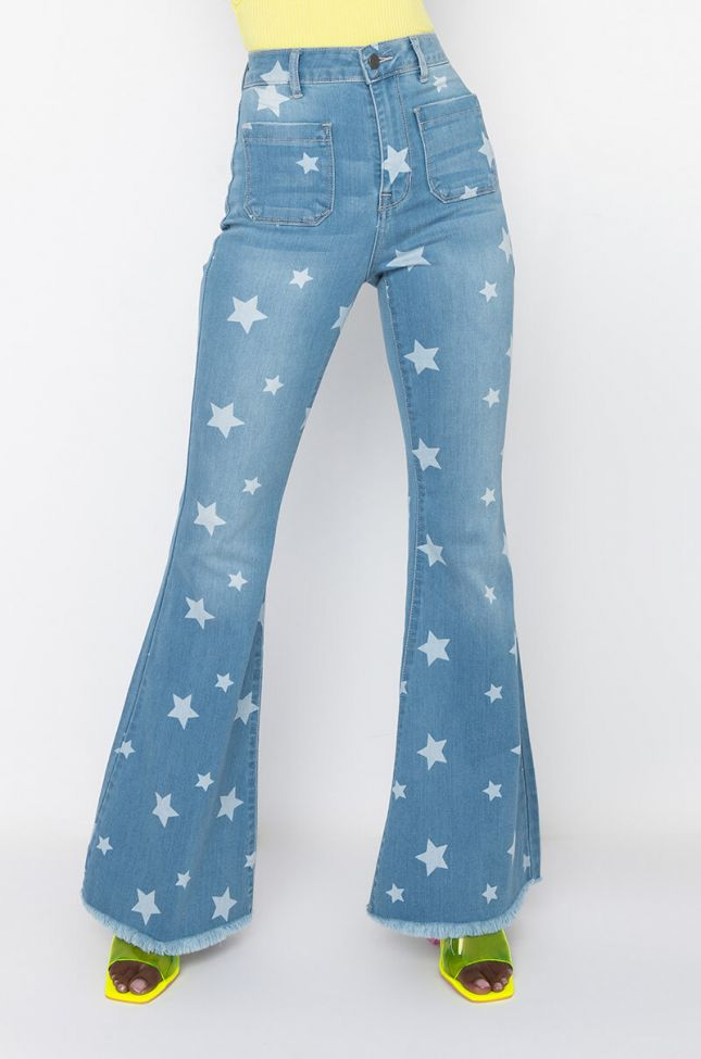 Front View Celebration Time High Waist Flare Jeans in Light Blue Denim