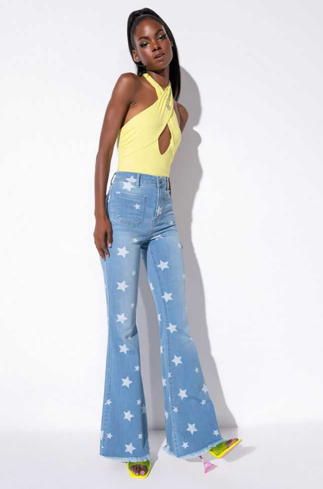 Full View Celebration Time High Waist Flare Jeans in Light Blue Denim