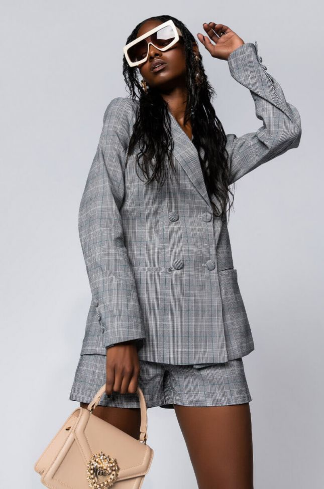 Front View Cerise Plaid Blazer in Grey