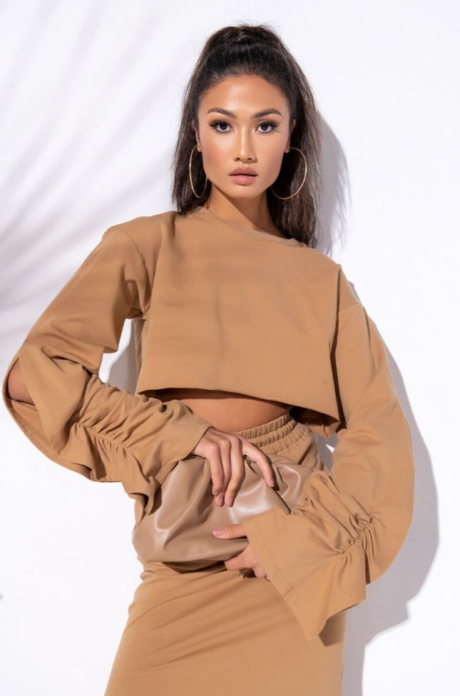 Front View Cest La Fuccin Vie Cropped Top in Light Brown