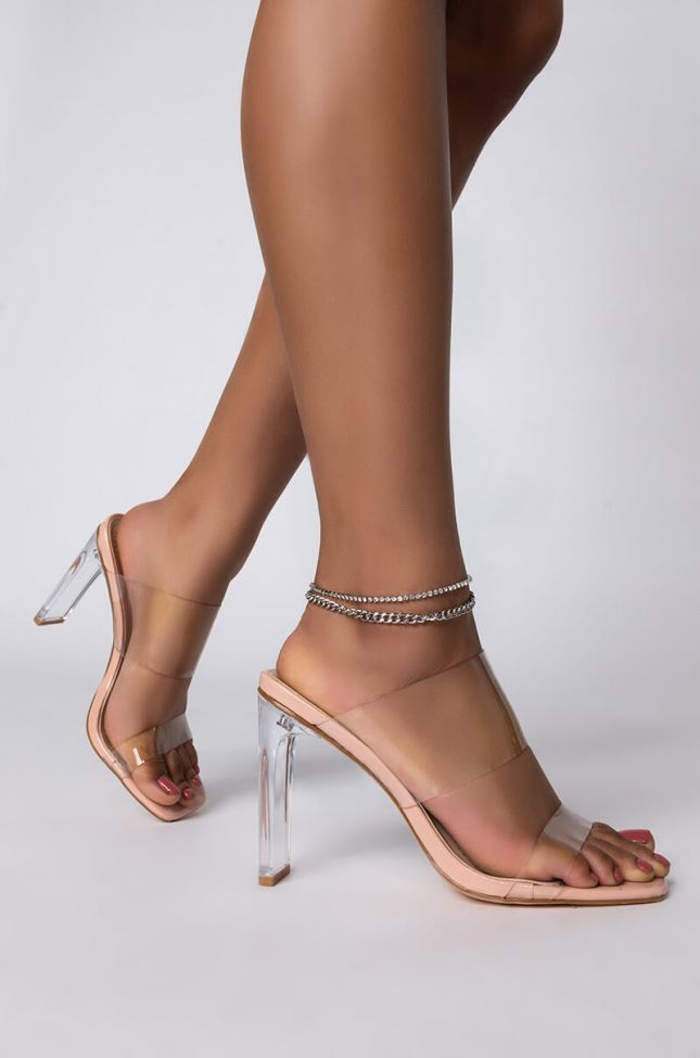 Front View Chain Bling Anklet in Silver