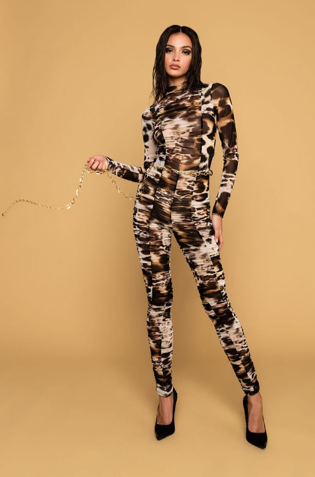Back View Chain Of Love Animal Print Mesh Jumpsuit in Brown Multi