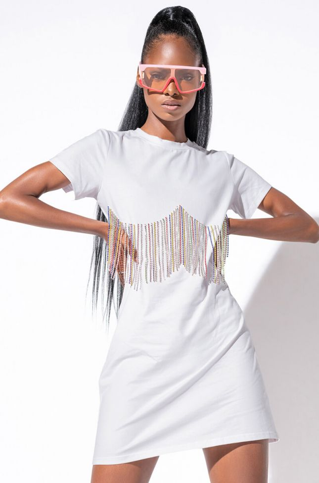 Front View Chains On My T Mini T Shirt Dress in White