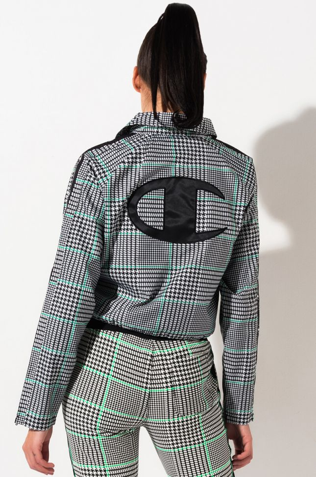 Back View Champion Cropped Coaches Jacket Houndstooth All Over Print in Exploded Houndstooth Chalk White