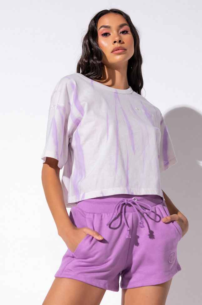 Front View Champion Lightweight Cropped Tie Dye Tee in Light Purple
