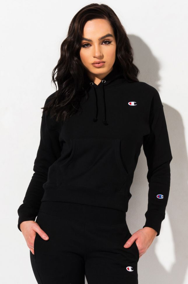 Front View Champion Reverse Weave Pullover Hoodie With Chest C Logo in Black