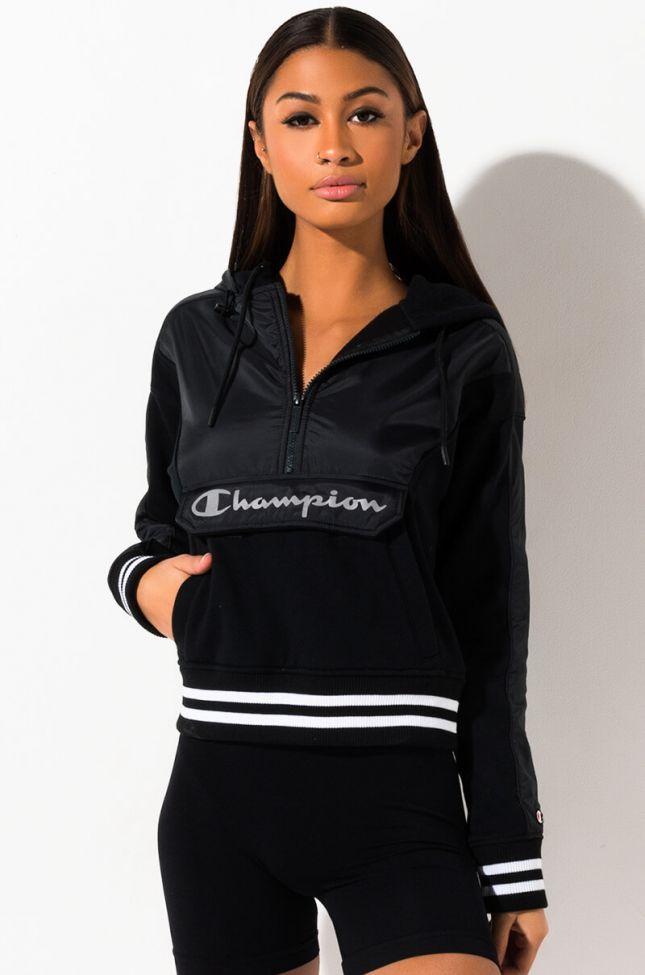 Front View Champion Sideline Half Zip Hoodie in Black