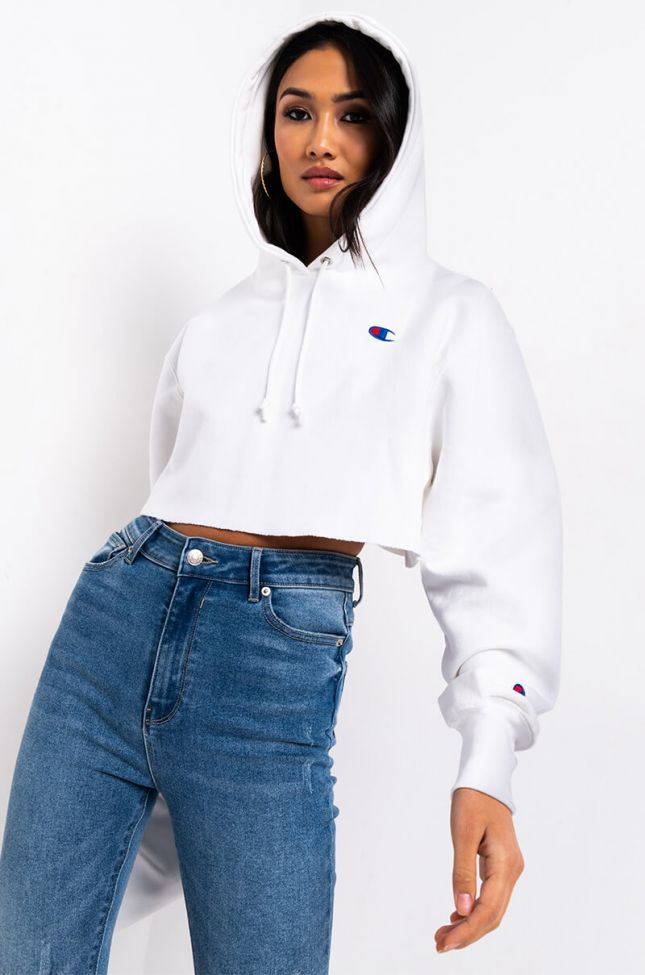 Front View Champion Womens Reverse Weave Cropped Hoodie in White