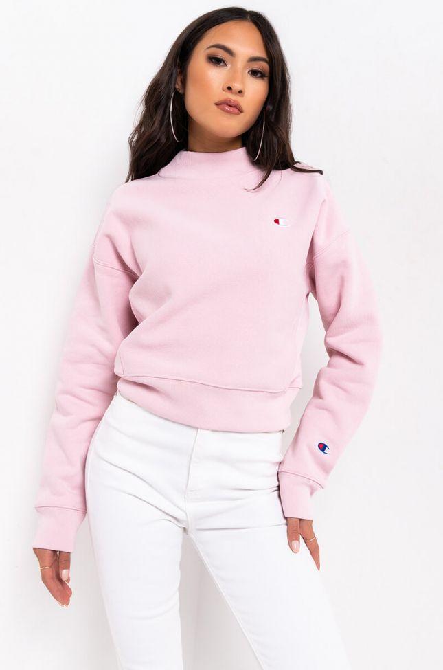 Front View Champion Womens Reverse Weave Mock Neck Crop Sweatshirt in Hush Pink
