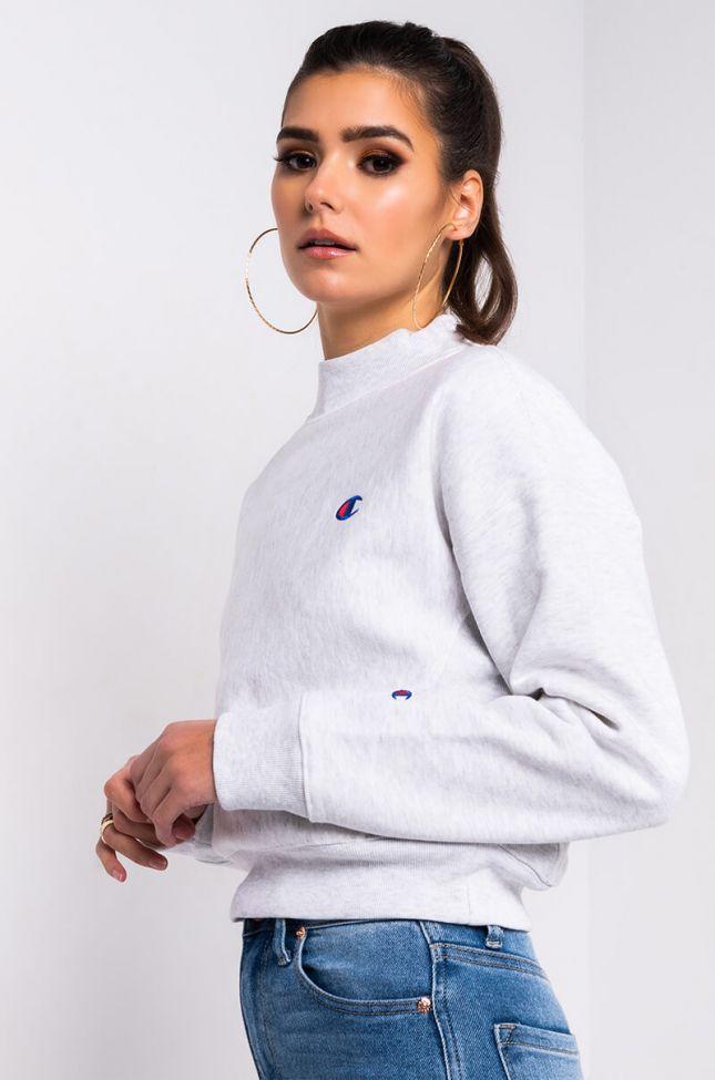 Side View Champion Womens Reverse Weave Mock Neck Crop Sweatshirt in Silver Gray