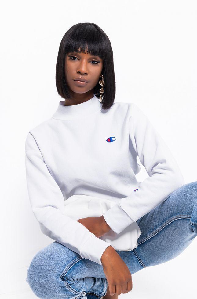 Detail View Champion Womens Reverse Weave Mock Neck Crop Sweatshirt in White