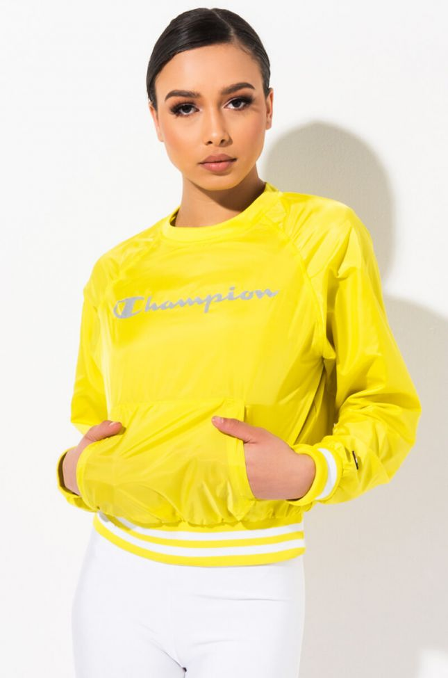 Front View Champion Womens Ripstop Crew Top in Journey Yellow