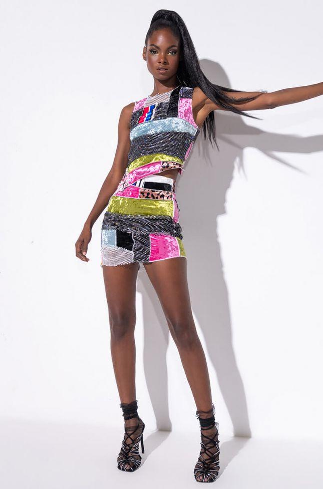 Chaotic Beauty Rhinestone Detail Mini Skirt in Pink Multi