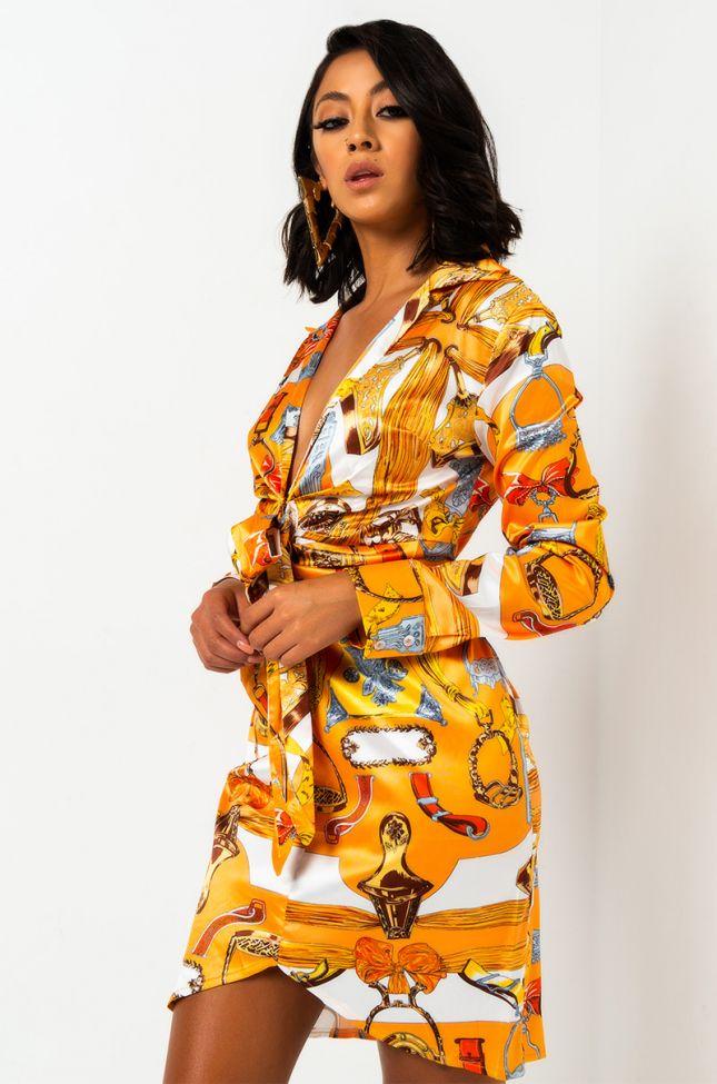 Side View Charmed Tie Front Mini Dress in Orange Multi