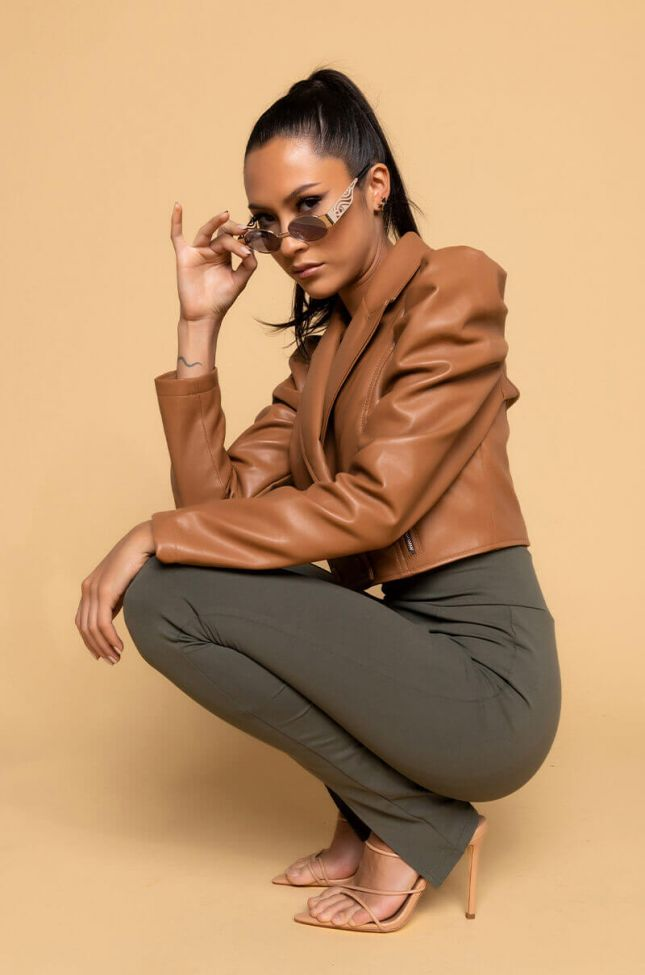 Full View Chateau Cropped Blazer Moto Jacket in Camel