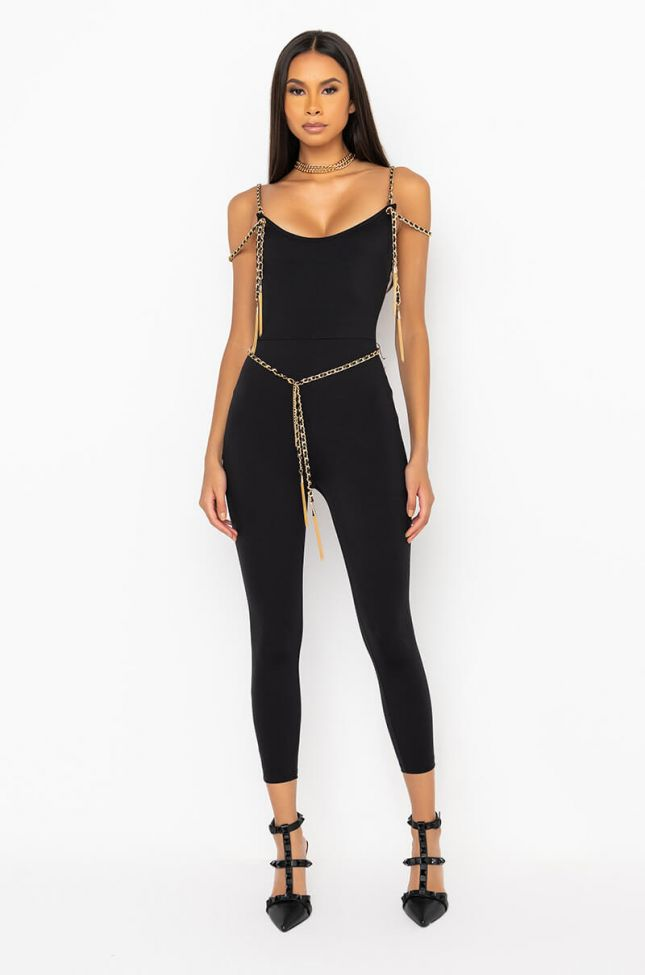 Front View Check Her Out Jumpsuit With Gold Chain Detail in Black