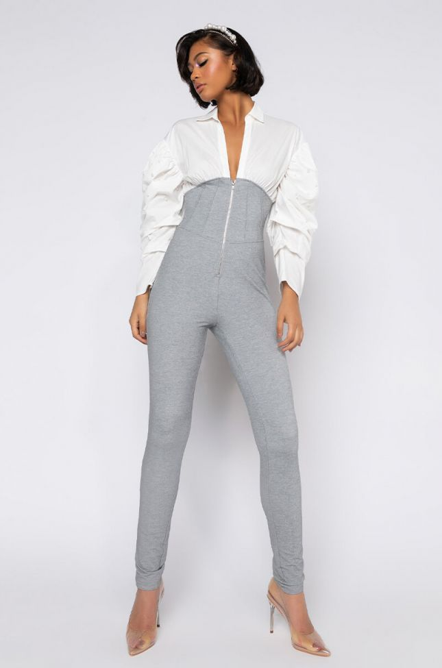 Front View Check Me Out Poplin Puff Sleeve Jumpsuit in Grey Multi