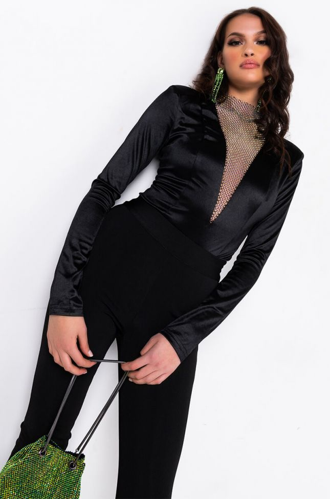 Front View Check Your Dm Rhinestone Mesh Bodysuit in Black