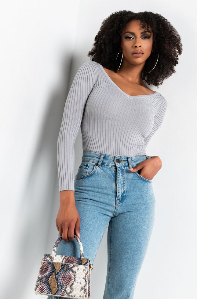 CHECKED OUT LONG SLEEVE DEEP V BODYSUIT
