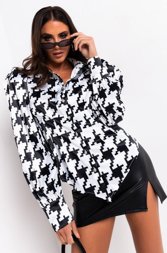 Checkin You Out Satin Puff Sleeve Blouse in White Black