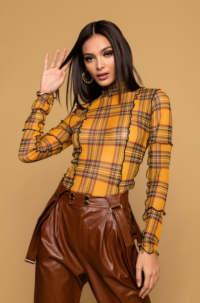 Front View Checkmate Plaid Mesh Long Sleeve Top in Yellow Multi