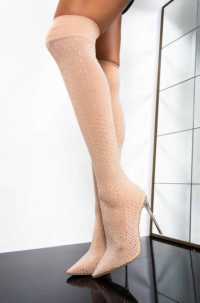 Front View Cheers To The Weekend Stiletto Boot in Nude