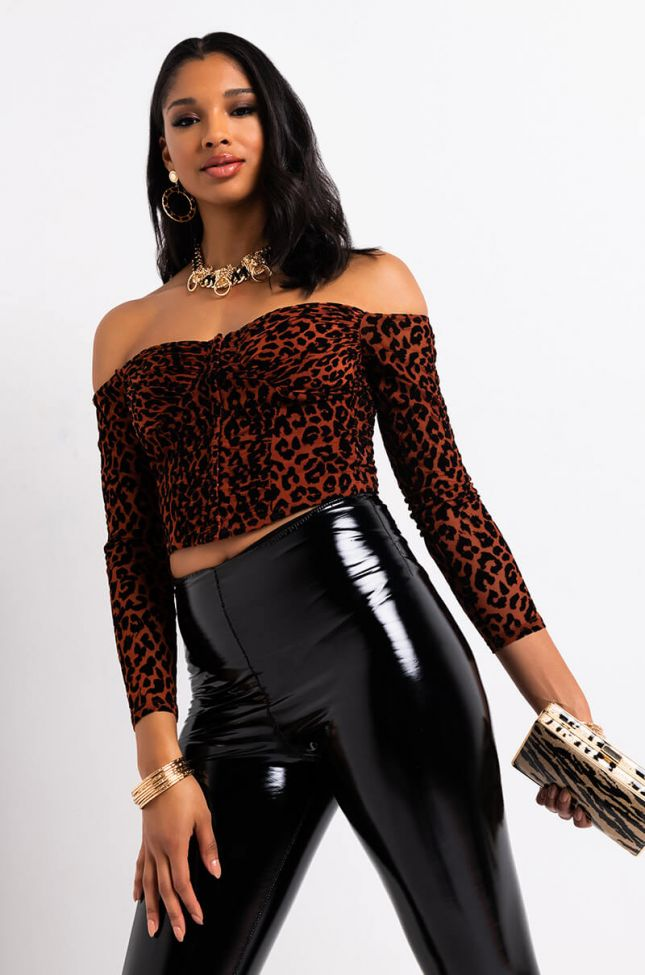 Front View Cheetah Time Off Shoulder Corset in Brown Multi