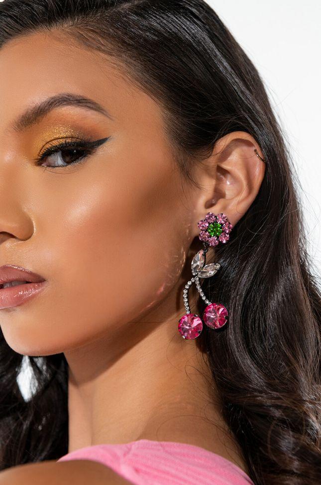 Front View Cherry Flower Bling Rhinestone Earrings