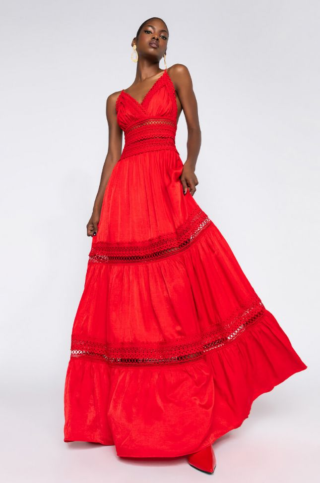 Front View Cherry On Top Maxi Dress in Red