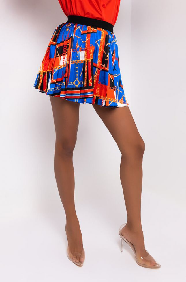 Front View Chic Satin Pleated Mini Skirt in Blue Multi