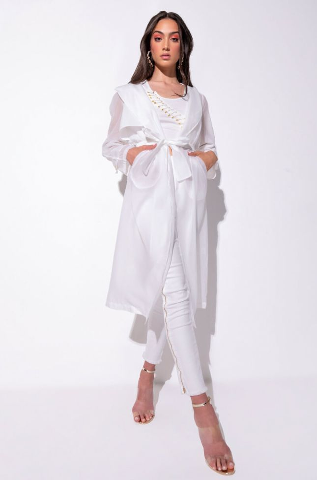 Front View Chiffon Chateau Mesh Trench