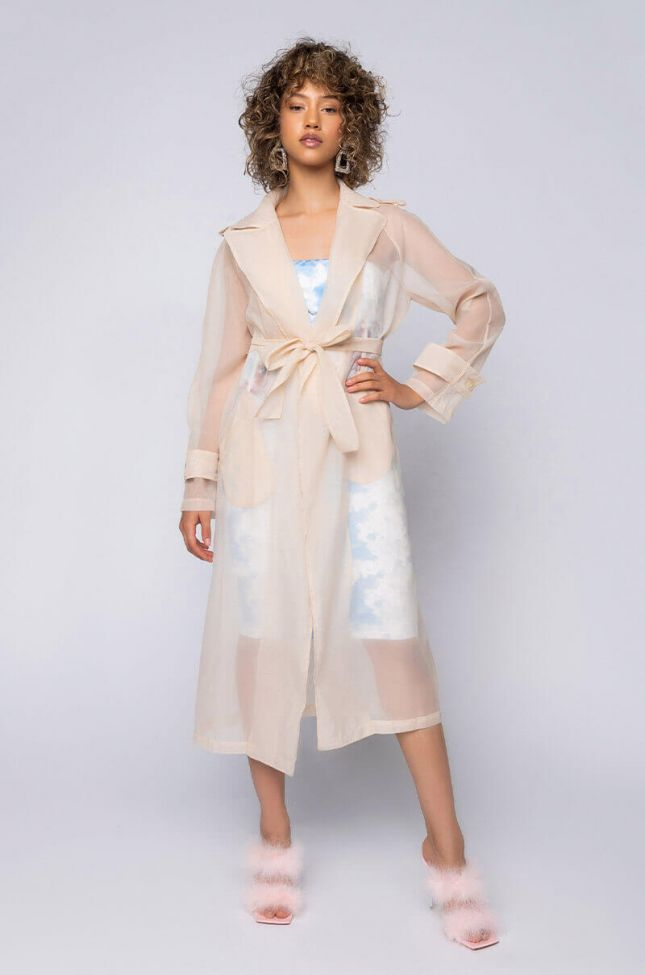 Front View Chiffon Chateau Mesh Trench in Beige