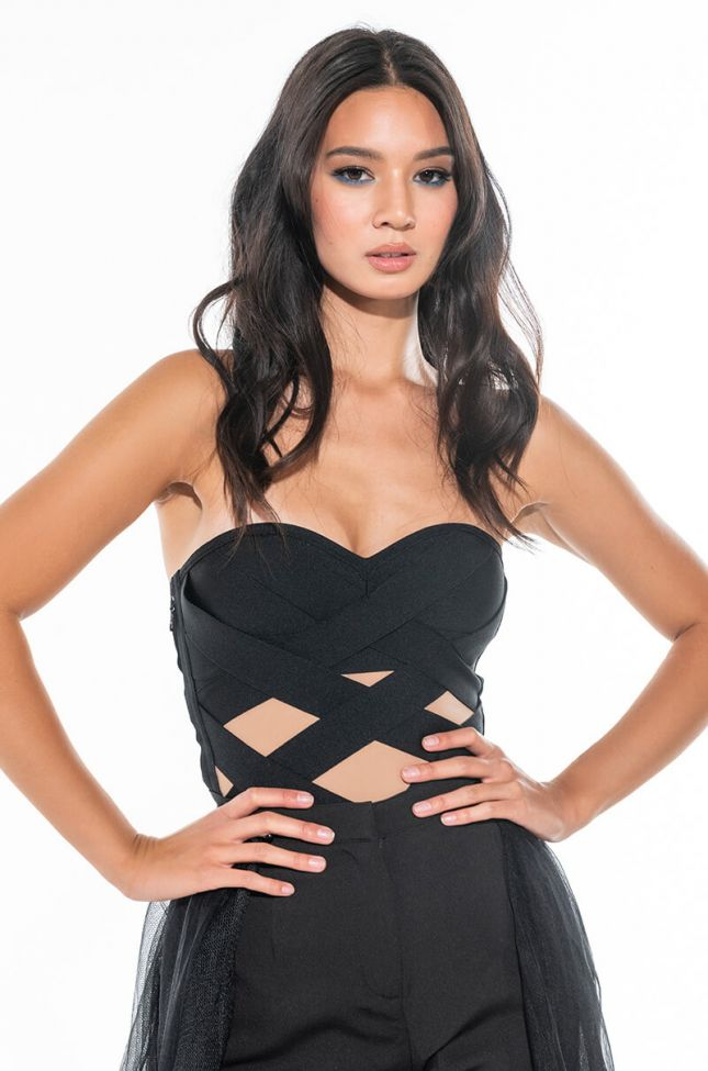 Front View Childs Play Bandage Bodysuit With Cutouts
